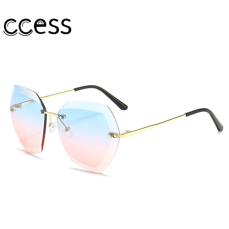 Oversized Square Frameless Trimming Gradient Sunglasses Women Brand Designer Ocean Lens Round Vintag