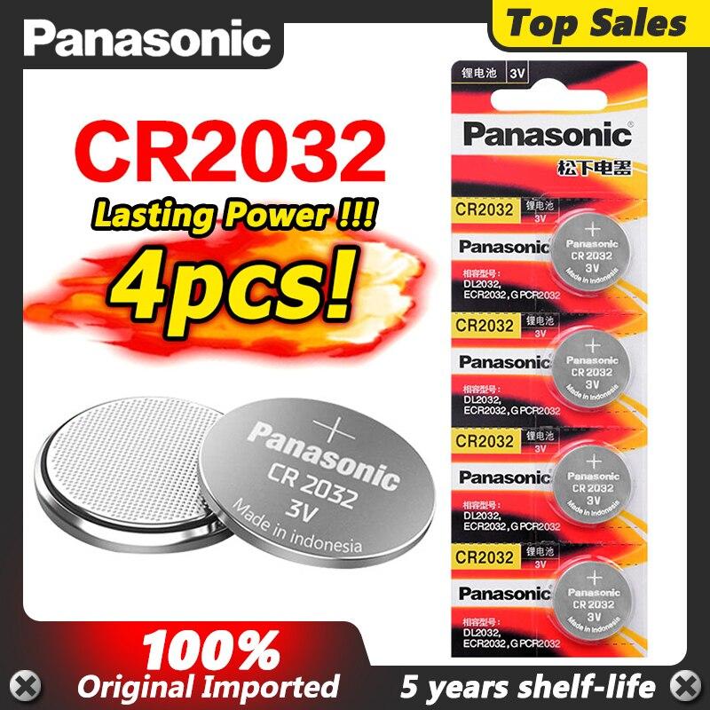 PANASONIC-Pilas de botón CR2032 para hombre y mujer, batería de monedas CR...