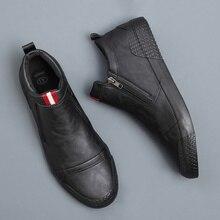 2020 New Mens Simple Boots Fashion Korean Joker High Top Casual Shoes Male Side Zipper Flat Heel Boots MG56569