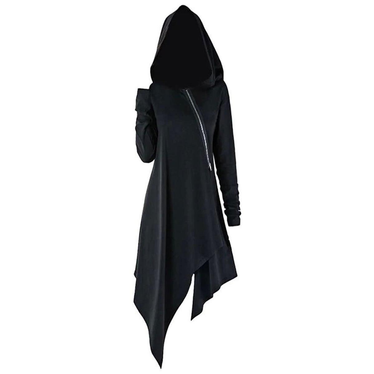 Fashion Long Sleeve Hooded Trench Coat 2019 Autumn Black Zipper Plus Size XL Velvet Long Coat Women Overcoat Clothes