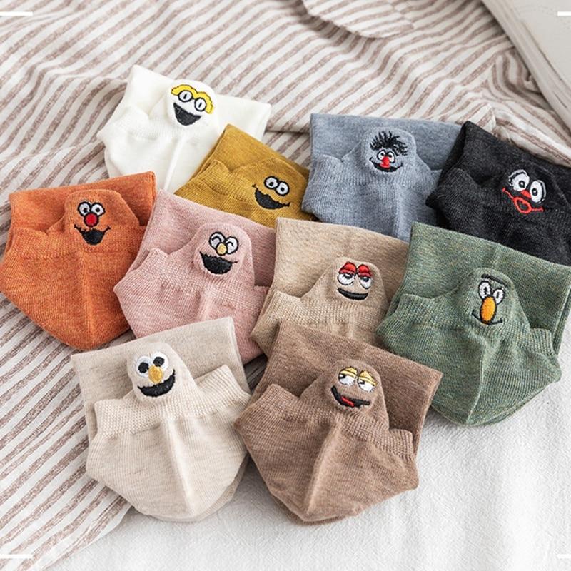 1 пара носков с закрытым носком в Корейском стиле с японским улыбающимся лицом забавные носки с вышивкой пара носков смешные мужские носки и...