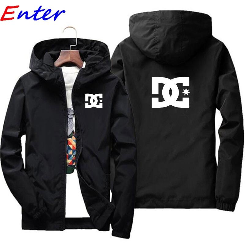 Брендовая мужская куртка с капюшоном, куртка с принтом логотипа DC CAR, повседневная толстовка на молнии, мужская спортивная одежда, модная ку...