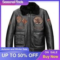 2021 black military style g1 pilot shearling coat men plus size 5xl real natural sheepskin winter thicn warm aviation jacket