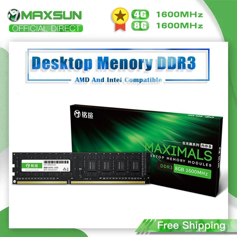 MAXSUN Memoria Ram única DDR3 4GB/8GB 1600MHz voltaje 1,5 V interfaz tipo 240Pin garantía de por vida escritorio Dimm para Intel AMD
