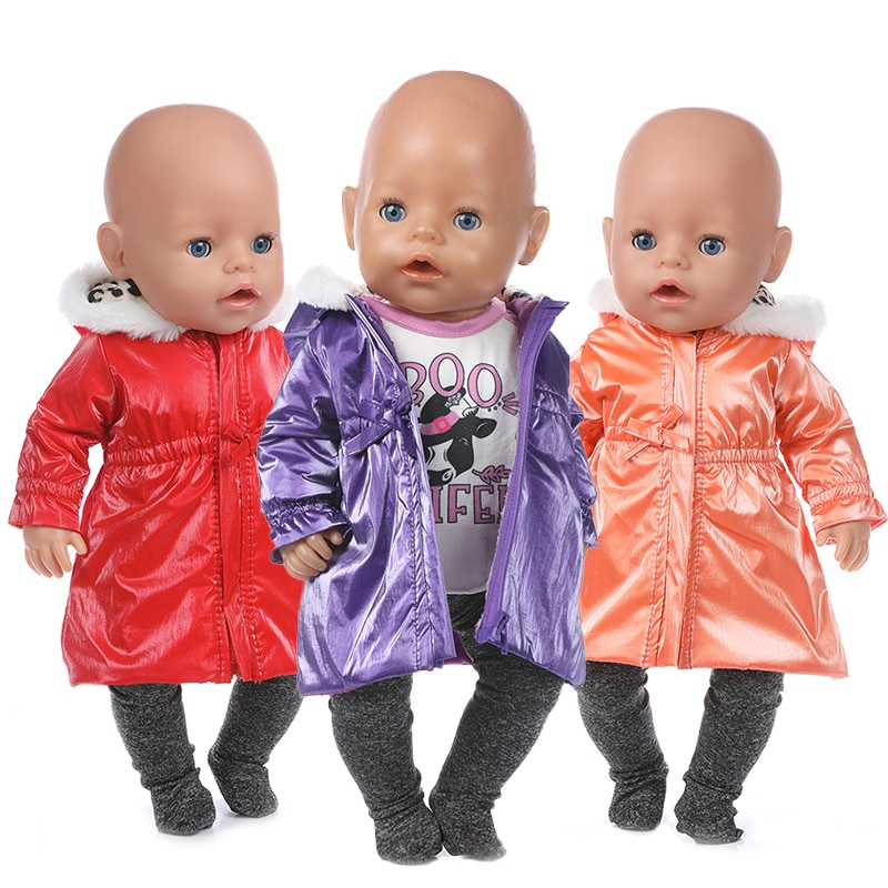 clothes for baby born dolls winter fur cloak coat windbreaker clothes for 18 inch doll outwear sets girl christmas dress Doll Clothes Baby New Born Doll Ski Jacket 18 Inch American Generation Girl Doll Winter Fur Coat
