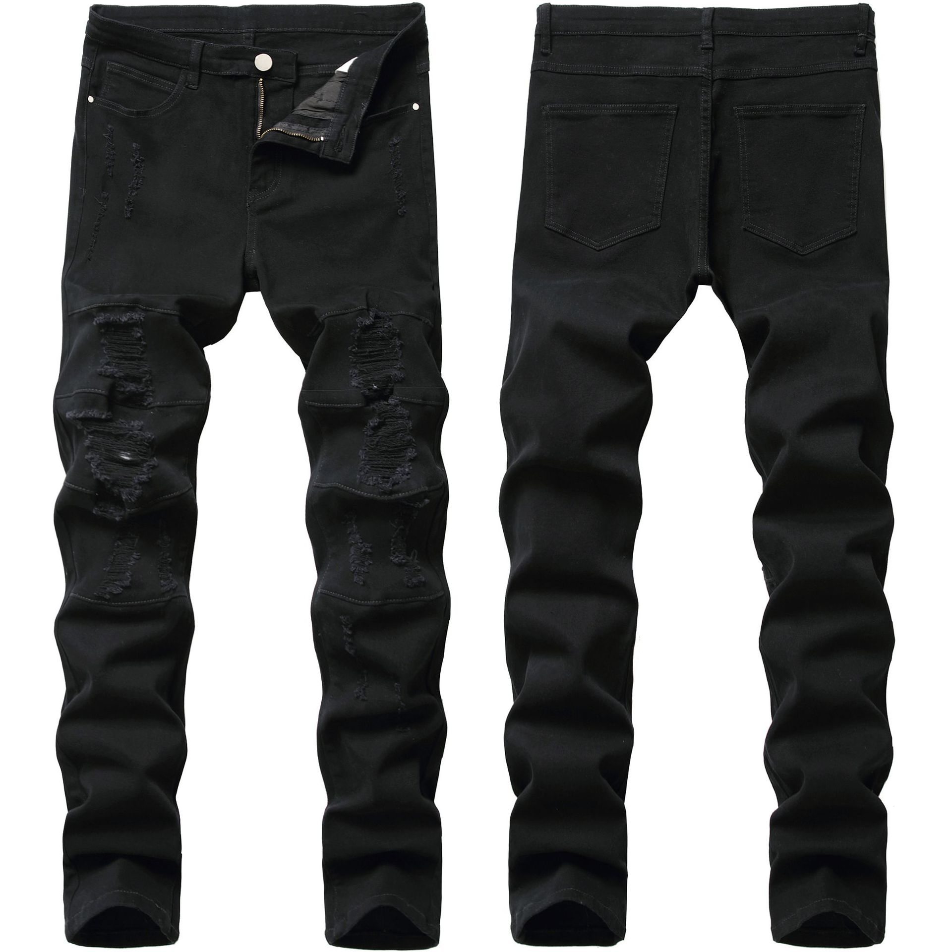 بنطلون جينز أسود للرجال موضة ملابس الشارع الشهير بفتحات مغسولة بنطلون دينم للرجال موضة 2020 جينز ممزق ضيق مستقيم للرجال