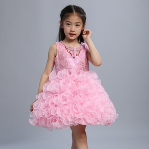 Beautiful Fluffy Baby Princess Toddler Party Dress Ballerina Birthday Party Girls Ball Gown with Rhinestone Necklace