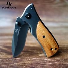 Cuchillo táctico plegable 57HRC de 5,9 pulgadas, cuchillo de acero de combate de madera portátil, bolsillo de titanio, cuchillo de supervivencia, herramientas de rescate