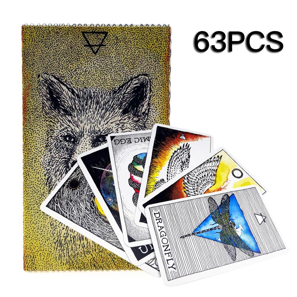 63 Uds. Tarot de espíritu Animal serie de cartas de Tarot en inglés para juegos de mesa para fiestas en el hogar