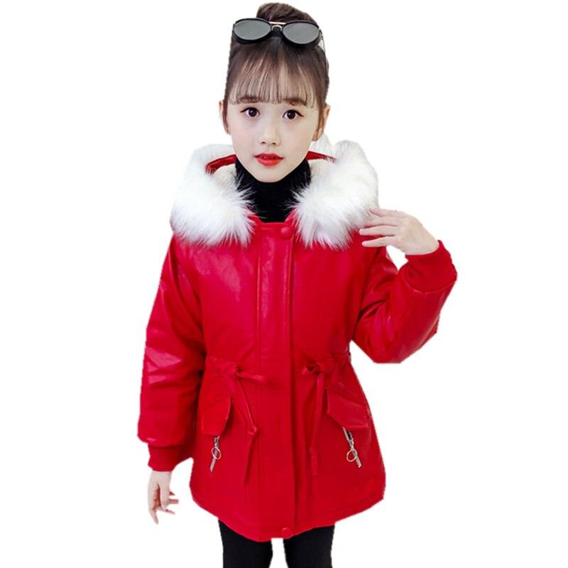 الفتيات الملابس الشتوية المعاطف الدافئة أحمر/أسود اللون England نمط فو سترات من الجلد أبلى للأطفال 3-13 سنوات سميكة سترة واقية
