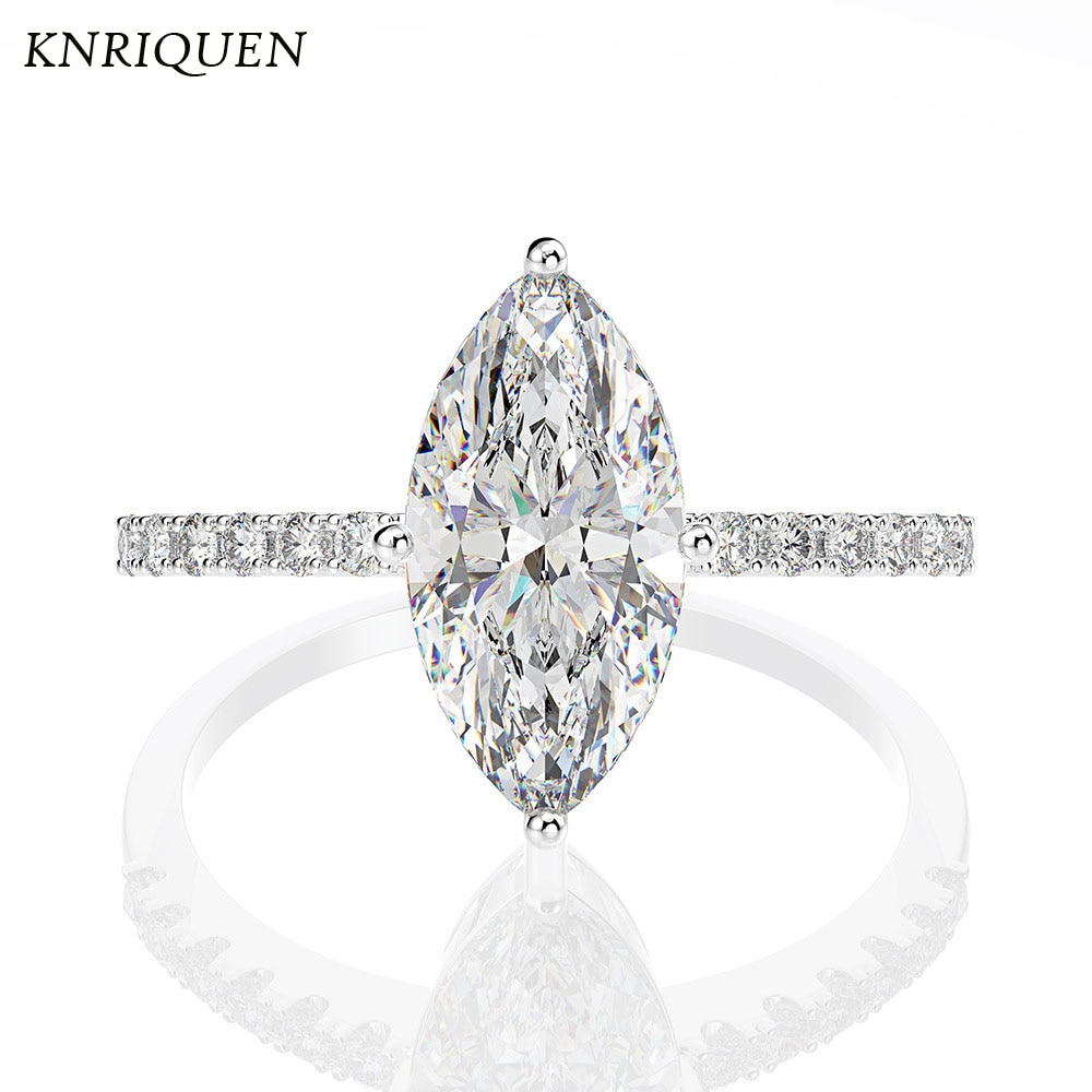Luxury 925 Sterling Silver Horse-Eye-Shape Created Moissanite Diamonds Gemstone Wedding Engagement White Rings for Girlfriend