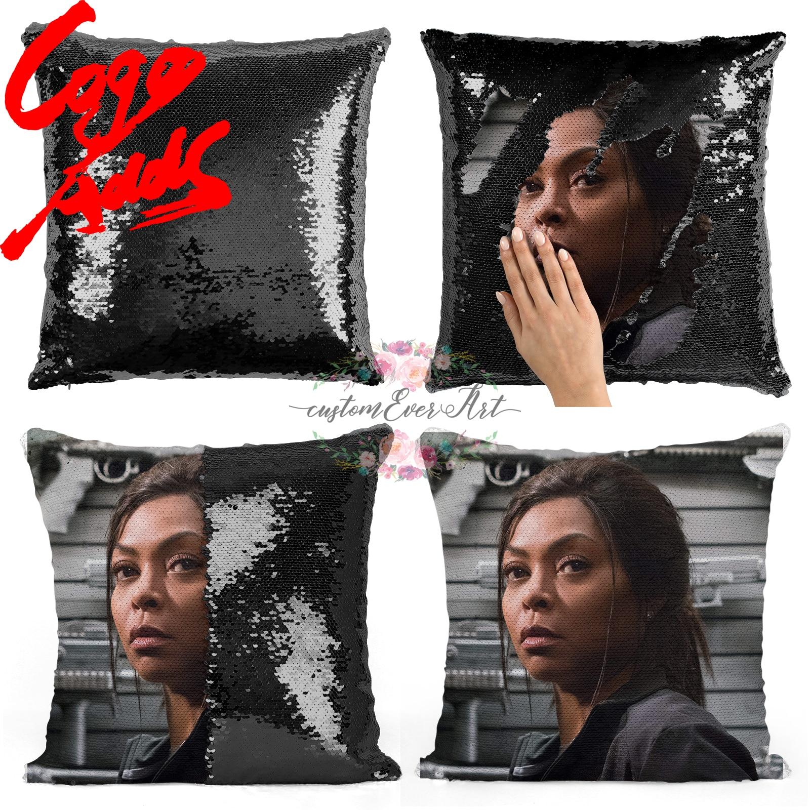 Taraji P. henson sequin travesseiro   sequin Fronha   Duas cores travesseiro   presente para ela   presente para ele   travesseiro   travesseiro magia