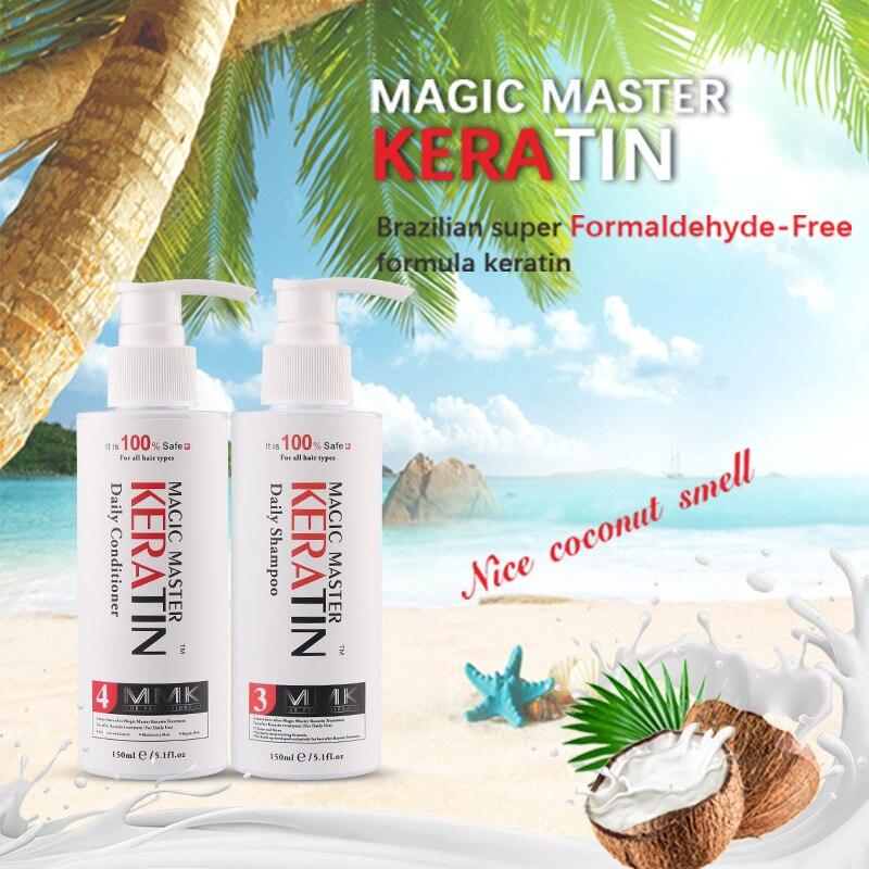 Купить с кэшбэком Shampoo 2Pcs 150mmk Magic Master Daily Dry Shampoo and Deep Conditioner Moisturizing Repair Damaged For Hair after Straighten