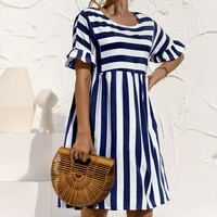 2021 summer new o neck womens dress casual loose solid short sleeve ruffle patchwork pocket fashion ladies stripe dress