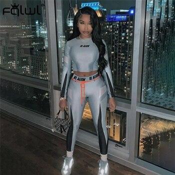 FQLWL Streetwear 2 Piece Set Women Sport Suit Outfits Bodycon Crop Top and Pants Female Tracksuit Ladies Sweat Suit Matching Set