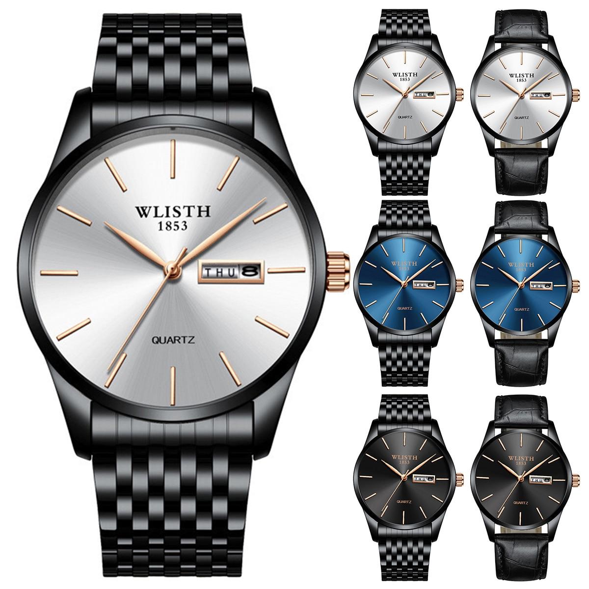 5 color Men Luxury Business Watch Ultra-thin Week Date Display Waterproof Analog Quartz Wrist Watch 2019