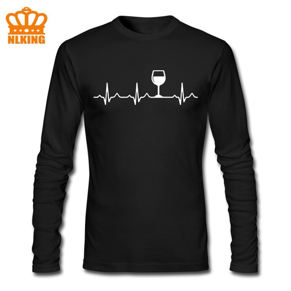 Vinho batimento cardíaco dos homens tshirt 100% algodão casual engraçado t camisa masculino yong meninos topo t de alta qualidade mangas compridas navio da gota 5 cores