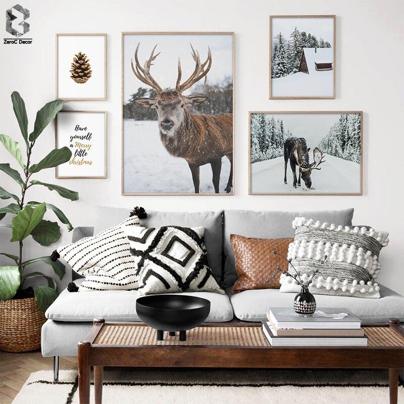Telas de helsinki alce, pintura em estilo nórdico da natureza, paisagem, arte na parede, pintura de cone de pintura, imagem decorativa, decoração de sala de estar