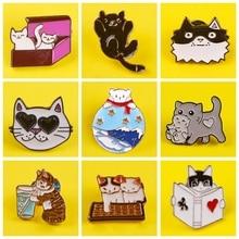 Cartoon Katze Emaille Pin Brosche Pins Katze In Box Lesen Bücher Revers Pin Mantel Abzeichen Für Kleidung Mode Schmuck Für kinder Frauen Geschenk