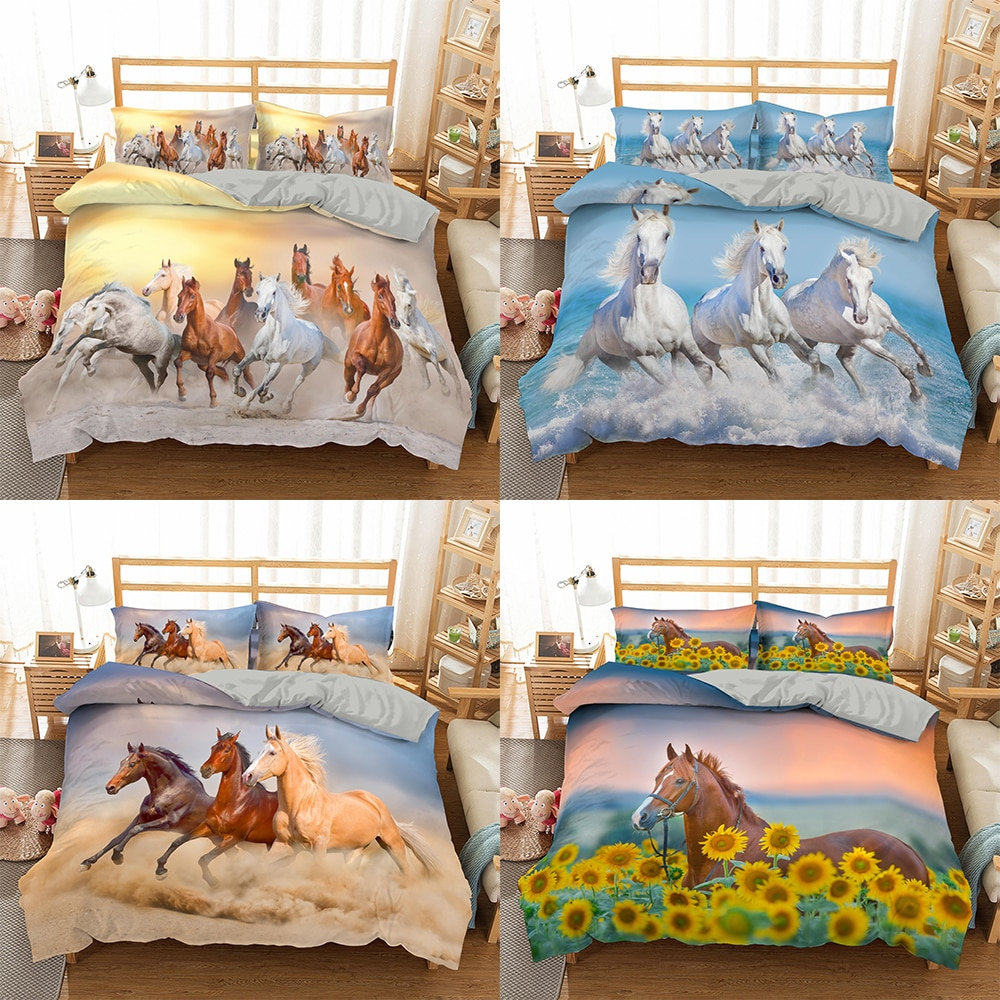 3D Horses Bedding Set Luxury Soft Duvet Cover King Queen Twin Full Comforter Bed Set Pillowcases Bedclothes