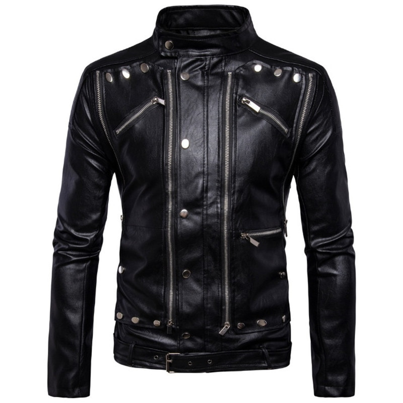 الرجال سترات من الجلد معاطف Jaqueta دي كورو Masculina 5XL موضة جديدة للدراجات النارية السائق سترات من الجلد متعددة سستة معطف أسود