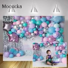 Радуга воздушные шары стена торт разбивать фон фотосессия новорожденные дети день рождения Портрет фон Серебряные звезды Фотография реквизит