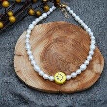 Bijoux fantaisie véritable perle deau douce ras du cou sourire collier Simple délicat perle bijoux collier pour femmes Unique accessoire