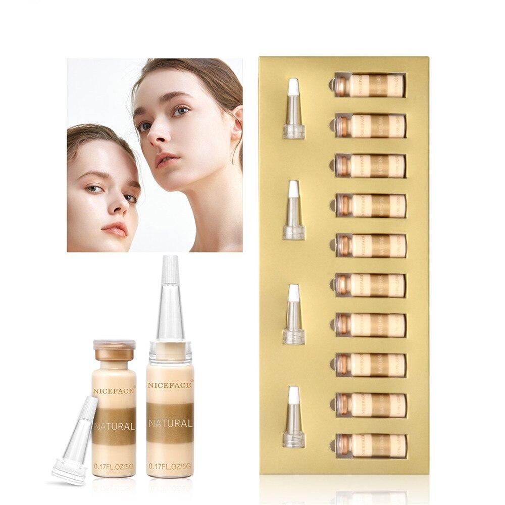 10 unids/set Base suave mate largo desgaste aceite Control corrector cobertura completa líquido Base crema maquillaje para mujer