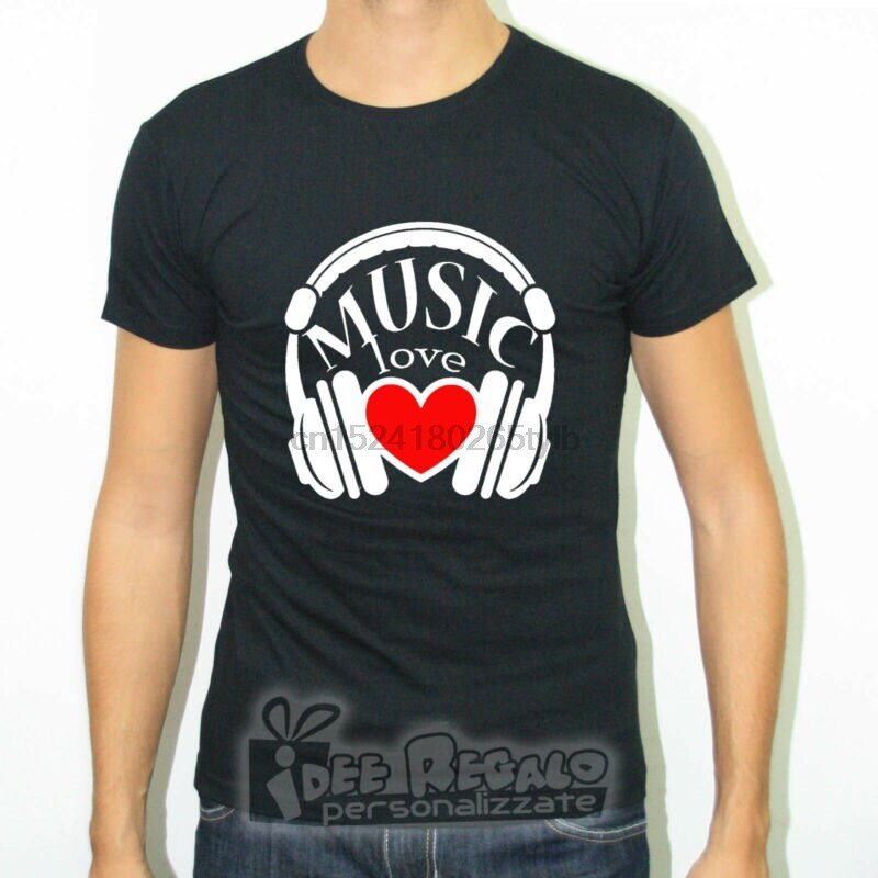 T-SHIRT SLIM FIT MAGLIA LOVE MUSIC HEART POP ROCK HEADPHONES CUFFIE BEAT DJ IN