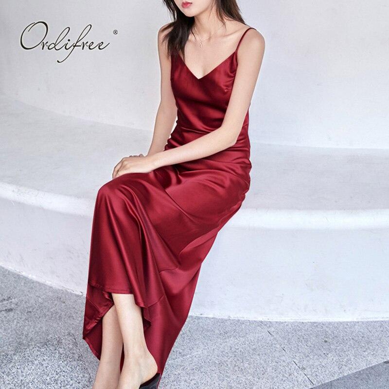 Ordifree 2020 Summer Elegant Women Long Satin Dress Vintage Spaghetti Black Burgundy Strap Slik Sexy Maxi Slip Dress