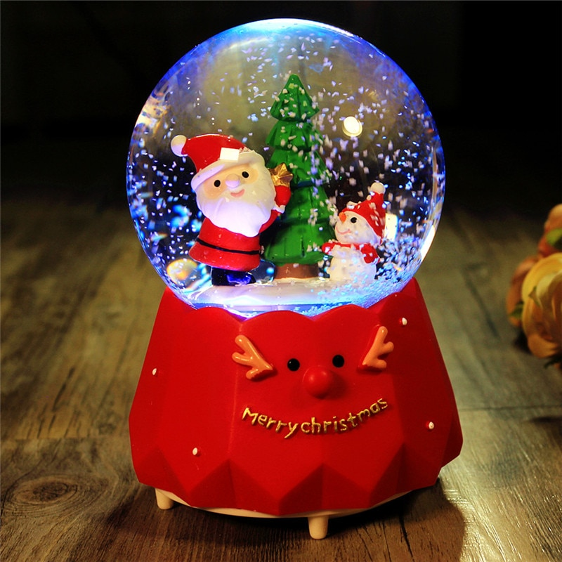 Rotatable Luminous Music Boxes Crystal Ball Resin Music Box with Light Santa Claus Christmas Gift Children's Gifts Tabletop LED enlarge