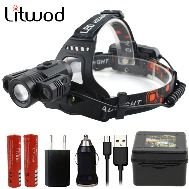 XM-L T6 Z502713 lámpara de cabeza led 12000 lúmenes linterna de cabeza recargable linterna de cabeza lámpara impermeable luces faro