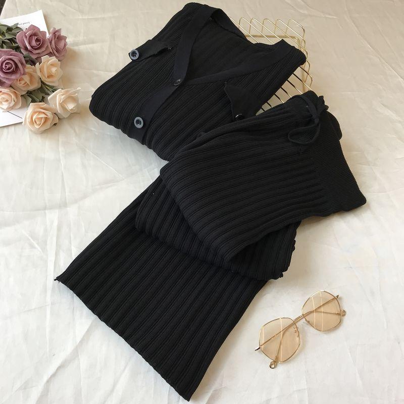 Women's Leisure Fashion V-neck suit Spring Slim Wide leg pants Two-piece set