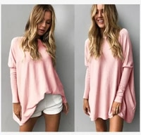 spring autumn fashion womens loose long sleeve t shirt bat long sleeve casual solid color womens top oversize 5xl large ladies