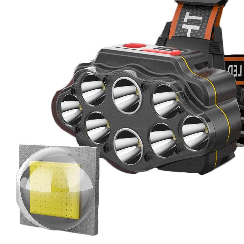 مصباح أمامي LED مقاوم للماء ، مصباح يدوي USB قابل لإعادة الشحن ، 4 أوضاع ، 8 x XPG ، للتخييم ، 18650