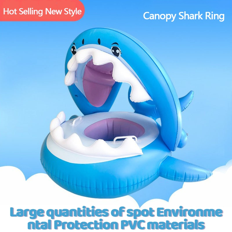 Asiento de tienda de tiburón para bebé, anillo de natación inflable, asiento de toldo desmontable, barco flotante para piscina para niños, juguete de agua segura