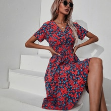 Summer Dress for Women 2021 V-Neck Short Sleeve Floral Printed  A Line Sexy Casual Party Midi Dresse