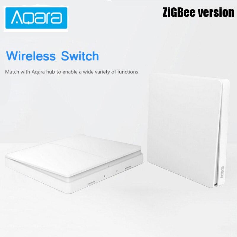 Original Aqara Parede Interruptor de Luz Inteligente Controle ZigBee Sem Fio Duplo Chave Única Versão APP Controle de Segurança Em Casa
