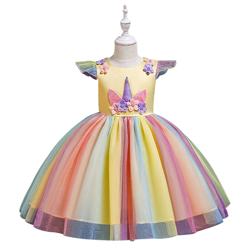 Traje de fiesta para niñas de Reino Unido del barro disfraces de unicornio colorido de dibujos animados vestidos Pettiskirt Set