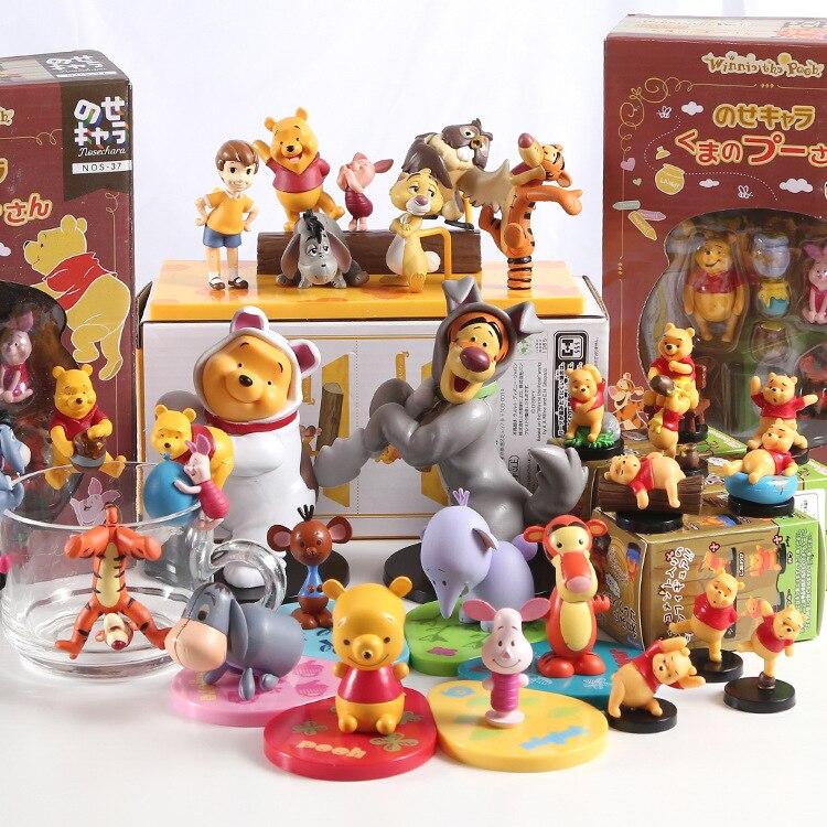 Disney 3 6cm winnie o pooh tigger piggy figuras de ação pvc postura anime decoração coleção estatueta dos desenhos animados modelo brinquedo presente Figuras de ação    -