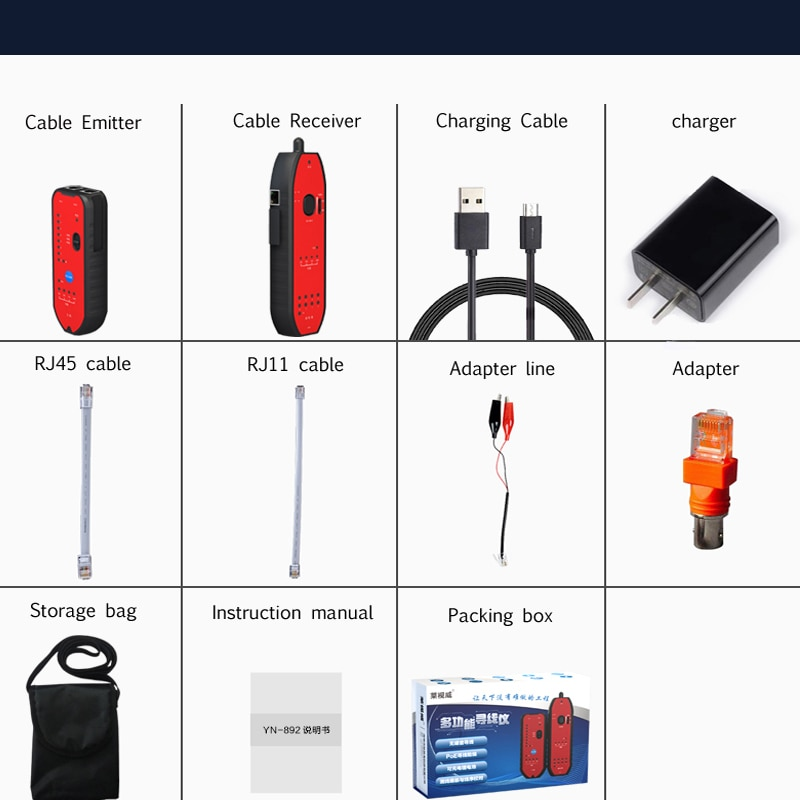 Hi-tech smart RJ11 RJ45 Cat5 Cat6 Telephone Wire Tracker LAN Network Cable Tester Network Detector Tool enlarge