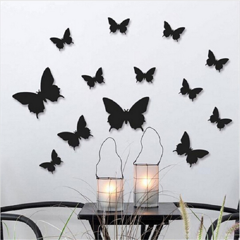 12 шт./лот ПВХ 3D DIY бабочки наклейки на стену домашний декор плакат для кухни ванной клей для стены наклейки украшения