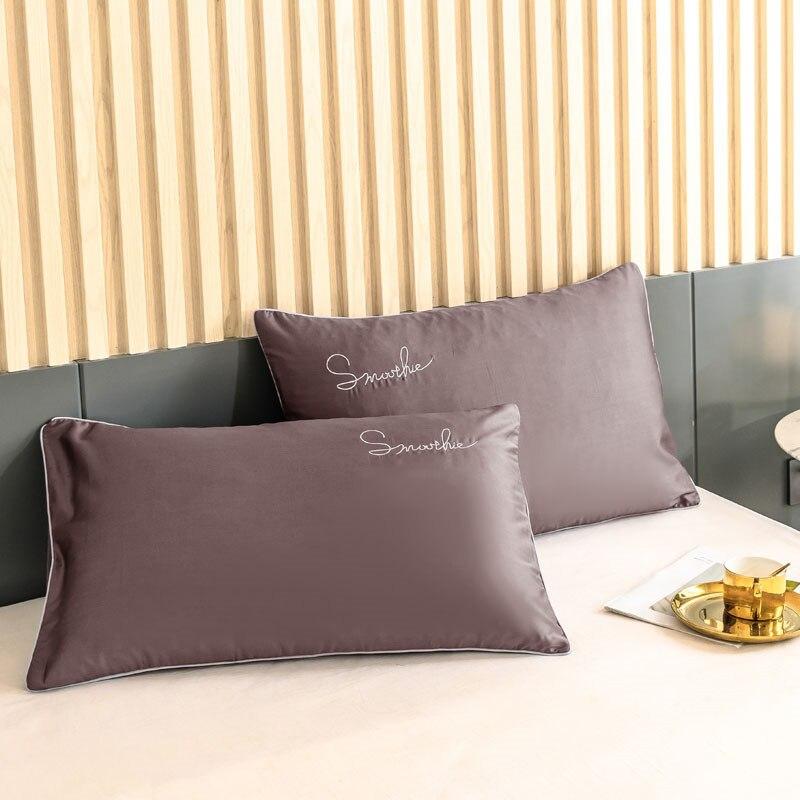 كيس وسادة قطن 100% بوصة لسرير كينج للبنات ، غطاء وسادة بني ، مقاس كوين ، لون سادة ، 2 قطعة ، شحن مجاني