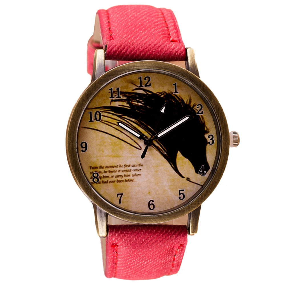 Wolf Pattern Quartz Watch for Women Cowboy Leather Strap Wristwatch Montre Femme Relogio Feminino  R
