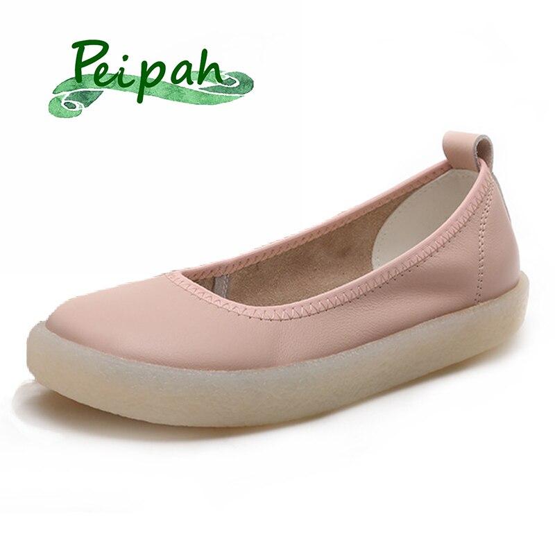 PEIPAH-حذاء قيادة نسائي من الجلد الطبيعي ، حذاء باليه مسطح بدون أربطة ، حذاء موكاسين عادي غير رسمي ، مقاس كبير