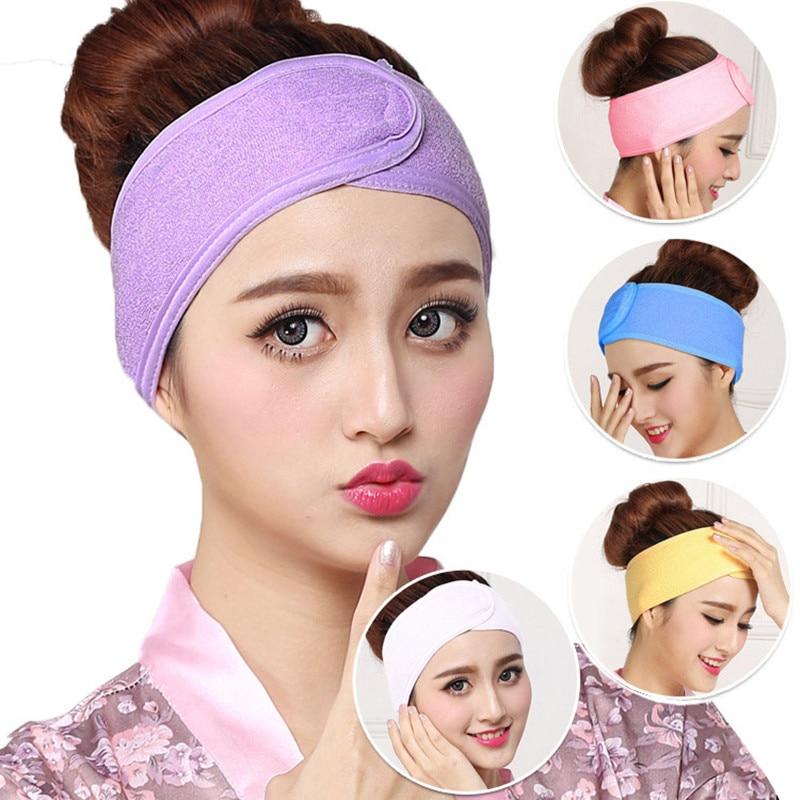 Convenience Wash Face Bath Shower Makeup SPA Women Sweat Elastic Sweat Soft Headbands Scrunchie With Magic Tape Hair Accessories