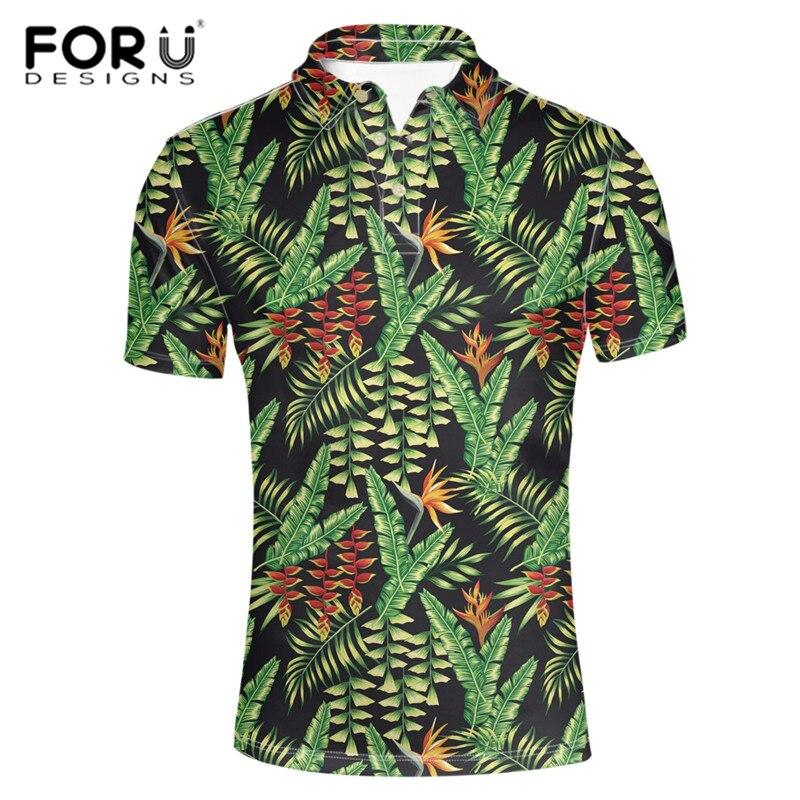 FORUDESIGNS camisa de verano para Hombre diseño Tropical Hawái árbol Leeves diseño masculino ajustado forma de cuerpo Tops y camisetas playa trajes de Hombre de gran tamaño