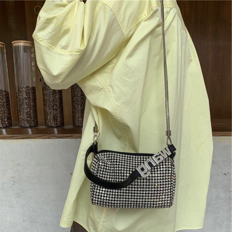 2021 جديد فاخر مصمم العلامة التجارية الموضة الكلاسيكية سيدة حقيبة حفر المياه كامل الماس مطعمة تحت الإبط حقيبة حقيبة ساعي حقيبة يد A2