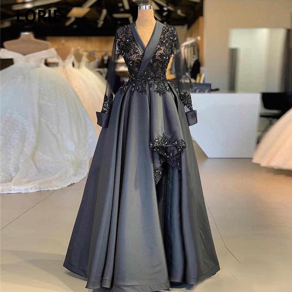 LORIE-فستان سهرة من الدانتيل الرمادي الداكن ، عتيق ، أكمام طويلة ، ساتان ، فستان عربي كبير الحجم