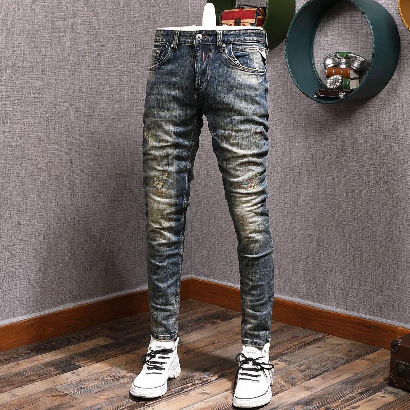 Европейские винтажные модные мужские джинсы в стиле ретро темно-синие Эластичные зауженные рваные джинсы мужские дизайнерские повседневн...